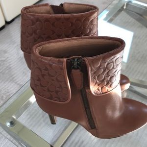 Tan leather coach ankle boots